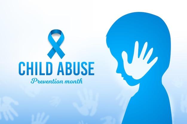 Ilustración realista del mes nacional de prevención del abuso infantil