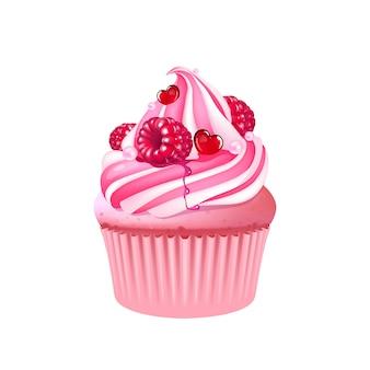Ilustración realista de muffin de frutas