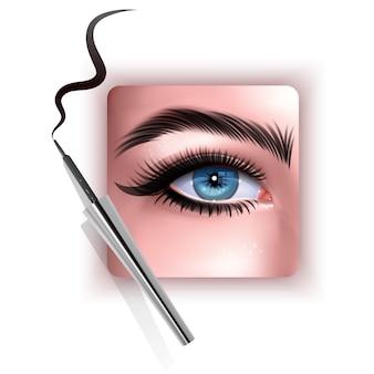 Ilustración realista del ojo aplicando delineador de ojos