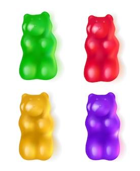 Ilustración realista osos de gelatina dulces laicos ilustración