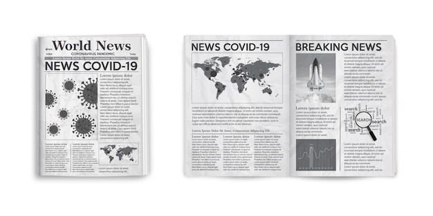 Ilustración realista de la página y portada del diseño del periódico en blanco y negro con noticias covid-19.