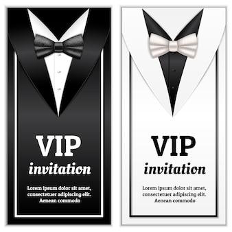 Ilustración realista de pajarita elegante para plantilla de invitación vip