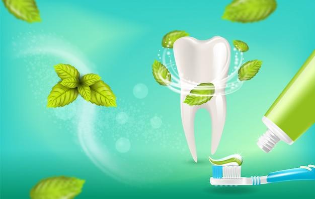 Ilustración realista de pasta de dientes de menta natural