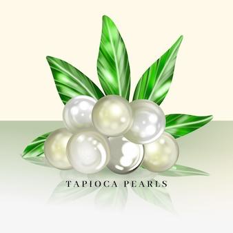 Ilustración realista de perlas de tapioca