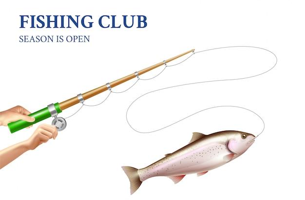 Ilustración realista de pesca de trucha