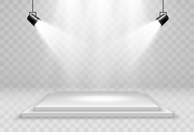 Ilustración realista de una plataforma 3d sobre un fondo transparente. un lugar para establecer algo.