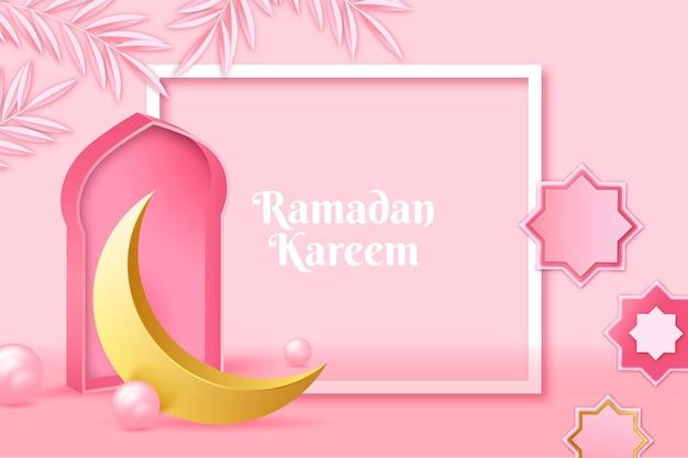 Ilustración realista de ramadan kareem tridimensional