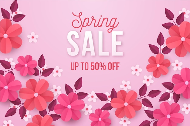 Ilustración realista de rebajas de primavera en estilo papel