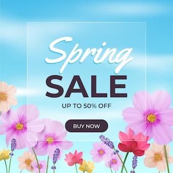 Ilustración realista de rebajas de primavera