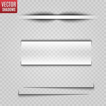 Ilustración realista de sombra transparente. separador de página con sombras transparentes aisladas.