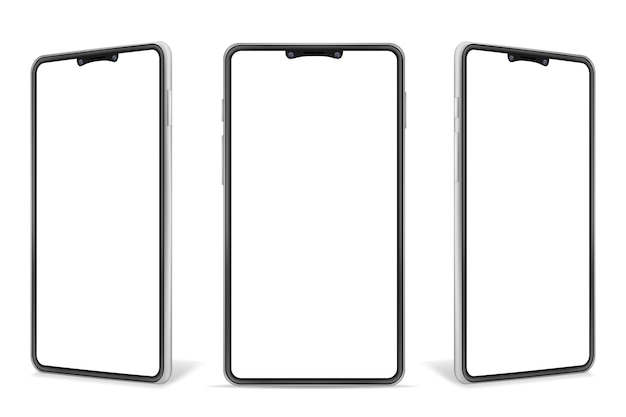 Ilustración realista del teléfono móvil en blanco del smartphone aislado en el fondo blanco