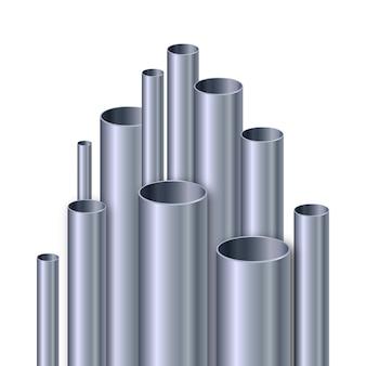 Ilustración realista de tubos de aluminio