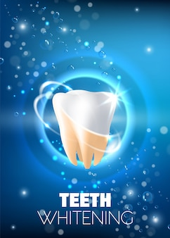 Ilustración realista de vector de anuncio de blanqueamiento de dientes