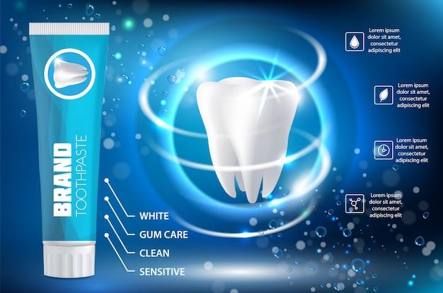 Ilustración realista de vector de anuncio de pasta de dientes blanqueadora