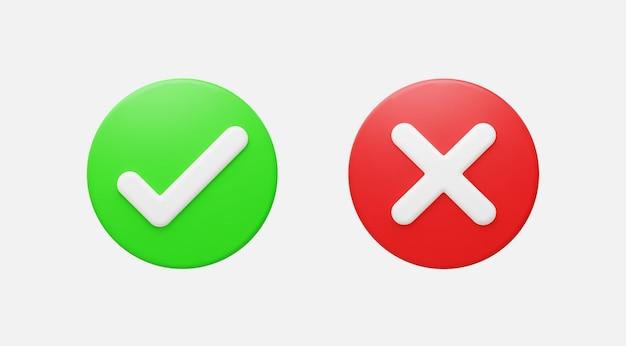 Ilustración realista del vector del botón 3d correcto e incorrecto.