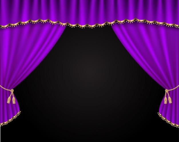 Ilustración realista de vector de cortina