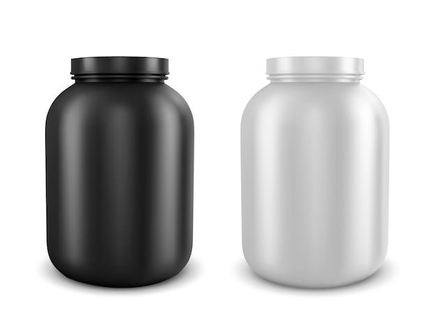 Ilustración realista vector de latas con tipos de nutrición deportiva.
