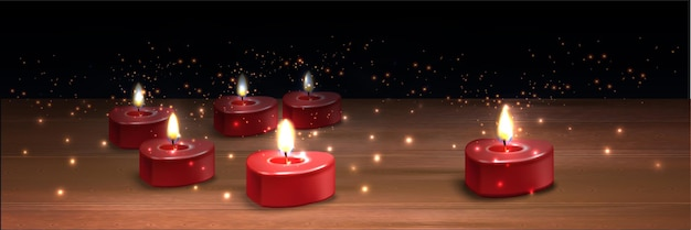 Ilustración realista de velas de san valentín