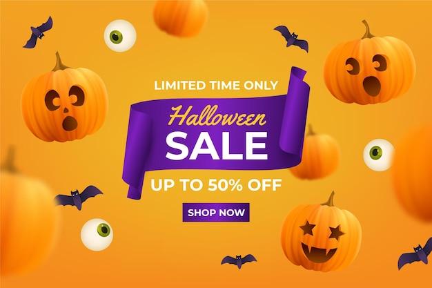Ilustración realista de venta de halloween vector gratuito