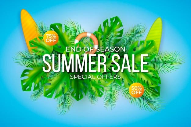Ilustración realista de venta de verano hola