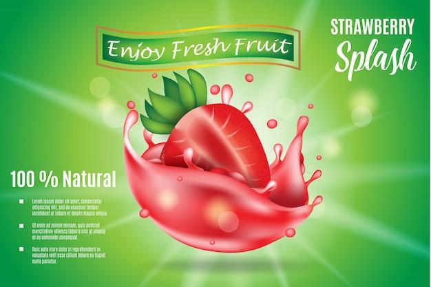 Ilustración de rebanada de fresa realista 3d con salpicaduras jugosas para anuncios