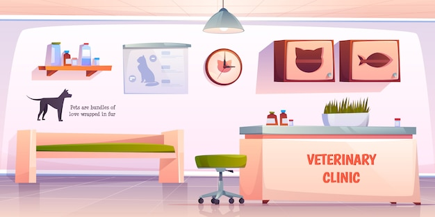 Ilustración de recepción de clínica veterinaria