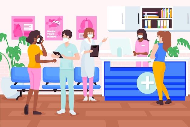 Ilustración de recepción de hospital dibujada a mano plana con enfermeras y médicos