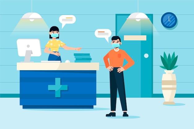 Ilustración de recepción de hospital dibujada a mano plana con personas con máscaras