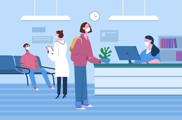 Ilustración de recepción de hospital dibujado a mano plana