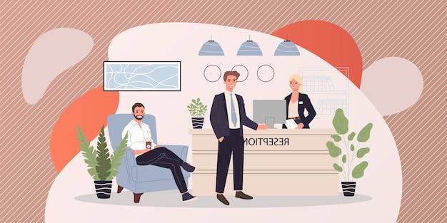 Ilustración de recepción de oficina