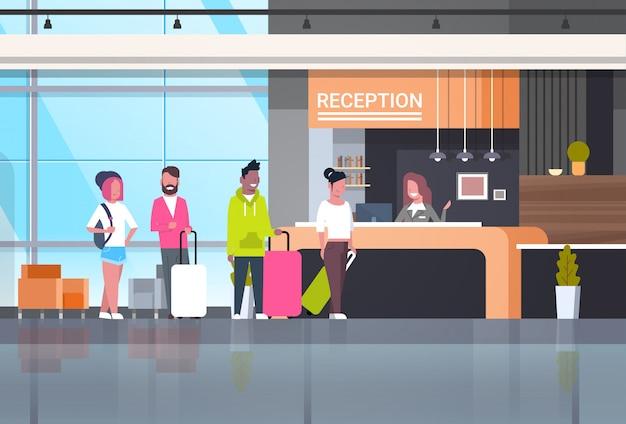 Ilustración de recepción con viajeros