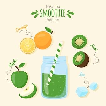 Ilustración de receta de batido saludable