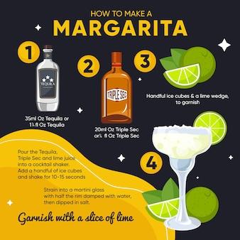 Ilustración de receta de cóctel margarita
