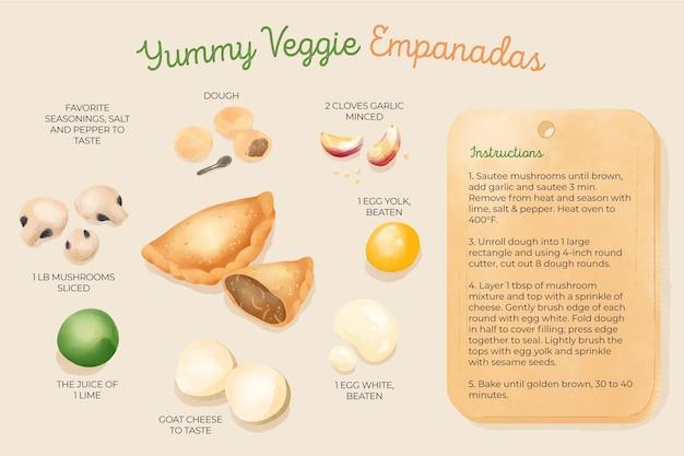 Ilustración de receta de empanadas vegetarianas