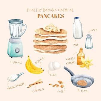 Ilustración de receta de panqueques de avena y plátano saludable