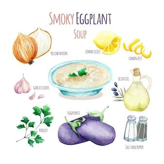 Ilustración de receta de sopa de berenjena ahumada saludable