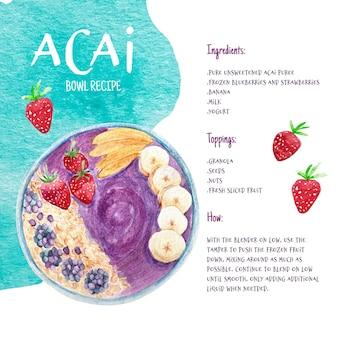 Ilustración de receta de tazón de acai
