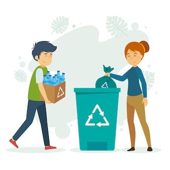Ilustración de reciclaje de personas de diseño plano