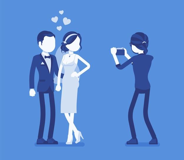Ilustración de recién casados y fotógrafos.