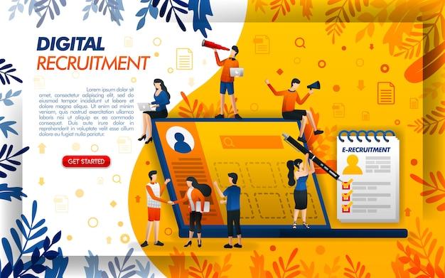 Ilustración de reclutamiento de nuevos empleados con tecnología y laptops.