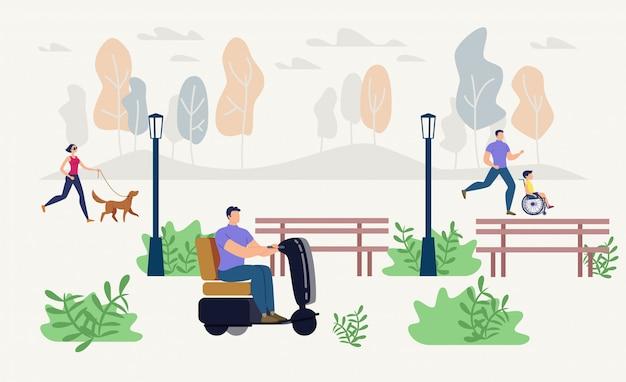 Ilustración de recreación al aire libre de personas discapacitadas