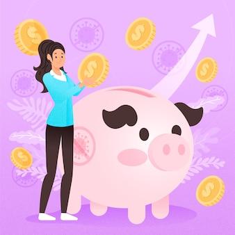 Ilustración de recuperación financiera de coronavirus