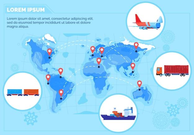 Ilustración de la red de entrega de logística global.