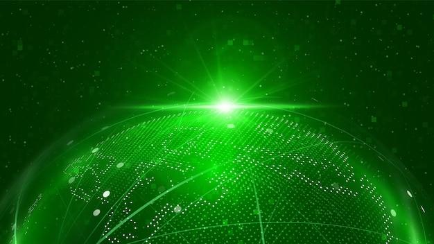 Ilustración de la red del globo tecnología digital 3d globe fondo de mapa de la tierra digital