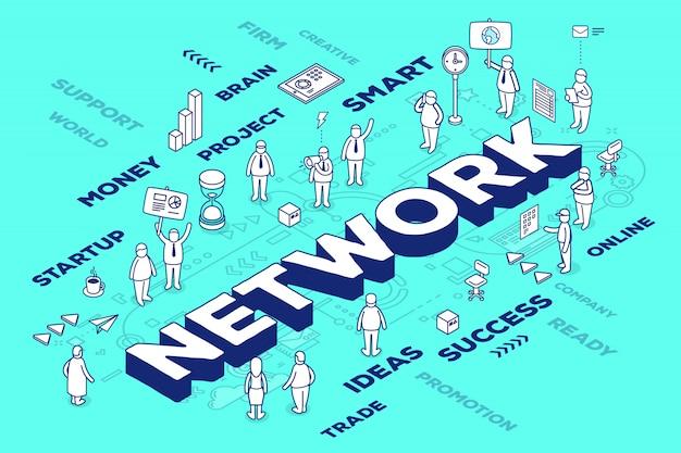 Ilustración de la red tridimensional de palabras con personas y etiquetas sobre fondo azul con esquema.