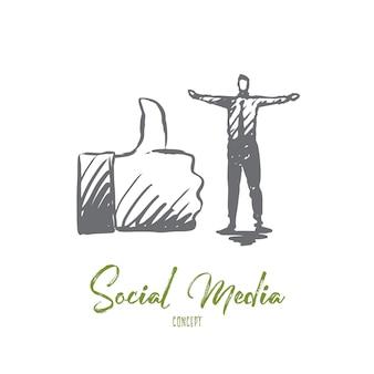 Ilustración de redes sociales en dibujado a mano