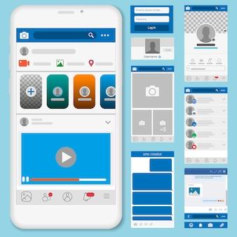 Ilustración de redes sociales, marcos de publicaciones y otras páginas.