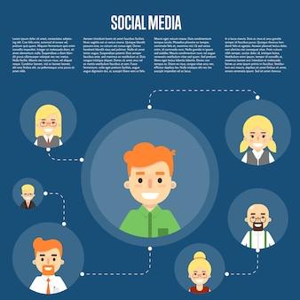 Ilustración de redes sociales con personas conectadas