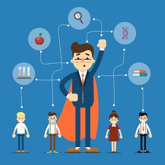 Ilustración de redes sociales y trabajo en equipo
