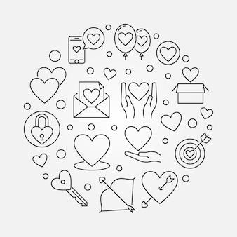 Ilustración redonda de amor